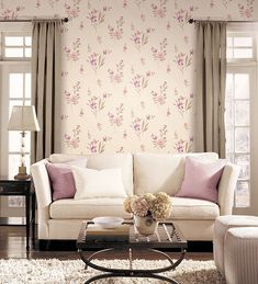Living room with beige and pink floral #wallpaper