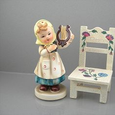 Vintage Girl Figurine Made in Japan Hummel Style Young Girl with Lyre Circa 1960s Child Figure Hand Painted Kitsch