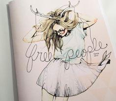 art, deer, drawing, fashion, fashion illustration, free people, girl, glasses, illustration, magazine, painting, skirt, spring