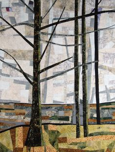 Peaceful Woods, 32Hx25W, art quilt by Pat Bishop