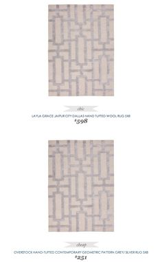 #CopyCatChicFind #LaylaGrace #Jaipur City Dallas Hand Tufted #Wool #Rug 5x8 $598 - vs - #Overstock Hand-Tufted Contemporary #Geometric Pattern #Gray #Silver Rug $251