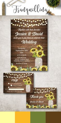 Rustic Wedding Invitation Printable Sunflower Wedding Invitation