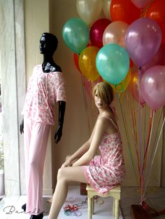 Spring mood, sunlight and baloons at Banella lingerie shop