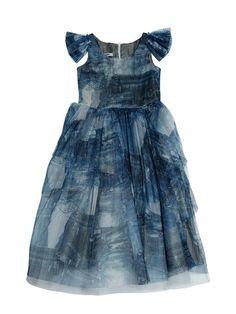 STRETCH TULLE DENIM DRESS $649