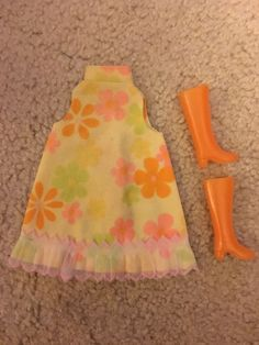 Clone Barbie Outfit Floral Swing Dress Orange Boots/Originally came with yellow boots