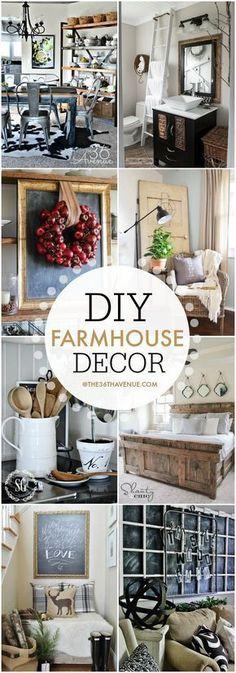 Home Decor - DIY Farmhouse Decor Ideas - Super cute ways to decorate your home!