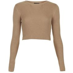 Women's Topshop Ribbed Crop Sweater ($47) ❤ liked on Polyvore featuring tops, sweaters, crop tops, crop, topshop, cropped pullover, sweater pullover, crop top and white pullover