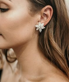Pictured is our gem encrusted frosted flower studs called the F R E Y A. Love what these look like on. Studs, Gems, Stud Earrings, Flowers, Jewelry, Jewlery, Jewerly, Stud Earring, Rhinestones