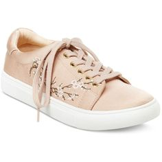 Nanette by Nanette Lepore Winona Blossom Lace-Up Sneakers ($59) ❤ liked on Polyvore featuring shoes, sneakers, blush, flower shoes, platform lace up shoes, white sneakers, white shoes and lace up sneakers