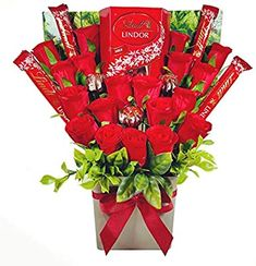Chocolate Bouquet Diy, Chocolate Tree, Flower Boquet, Diy Bouquet, Diy Flowers, Truffle Boxes, Chocolate Hampers, Lindt Lindor, Heart Shaped Cakes