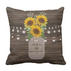 Rustic Sunflower Country Mason Jar Wedding Throw Pillow - country wedding gifts marriage love couples diy customize