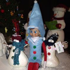 Elf on the Shelf wearing a Snow suit....