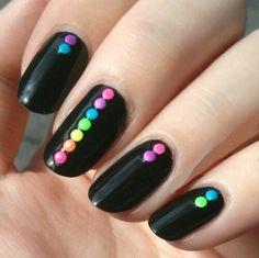 Simple Summer Nails with Neon Rainbow-TTumblr