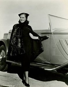 Paulette Goddard, getting into her husband's (Charlie Chaplin) Rolls-Royce Phantom II