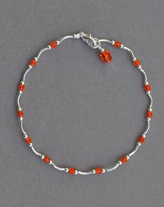 Jewelry - Anklets - Orange and Silver Beaded Anklet by JewelryArtByGail on Etsy - SOLD Ankle Jewelry, Ankle Bracelets, Beaded Jewelry, Beaded Necklace, Beaded Bracelets, Necklaces, Cute Anklets, Homemade Jewelry, Great Gifts