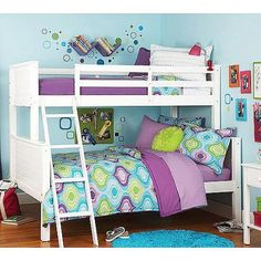 your zone twin over full bunk bed, white