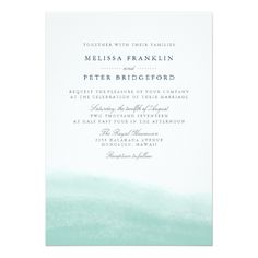 Watercolor Wedding Invitation Seaglass Tides Wedding Invitation