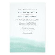 Watercolor Wedding Invitation Seaglass Tides Wedding Invitation