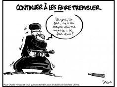Hommage à Charlie Hebdo par le dessinateur James, Libération. 7 au 9 janvier 2015.