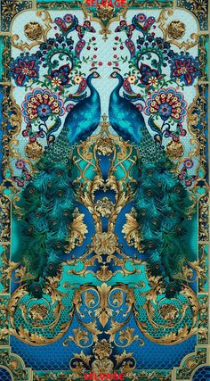 peacock print fabric | Turquoise color Peacock print fabric from by tambocollection, $9.00