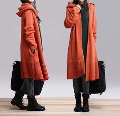 Orange  long sweater dress knitwear Hoodies by fashionwomanstore, $99.00