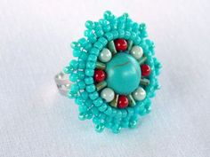 Bead Embroidery ring Seed beads jewelry Fashionable jewelry Turquise Red