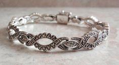 Sterling Marcasite Bracelet Prong Set 7.5 Inch Vintage #marcasitebracelet #sterlingsilver #vintage #dnatwist