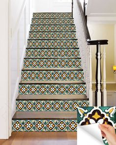 Stair decal/Tile stickers /wall :Mexican Talavera style- (24 pieces) V11