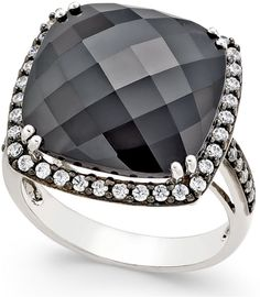 Onyx (15x15mm) and Swarovski Zirconia Large Fashion Ring in Sterling Silver