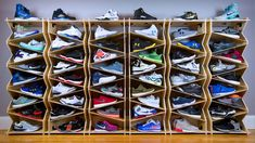 Speicherideen A shoe storage system for sneaker collectors and retail environments - . Sneaker Rack, Sneaker Storage, Shoe Storage Display, Display Shelves, Storage Ideas, Storage For Shoes, Sneaker Regal, Shoe Store Design, Diy Shoe Rack