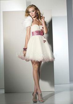 Pretty Tulle Empire Short Length Princess Prom Evening Dress