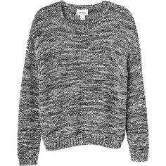 Monki Edith knitted top ($22) ❤ liked on Polyvore featuring tops, sweaters, shirts, long sleeves, black and white shirt, long sleeve sweater, black white sweater, long sleeve jersey and black and white top