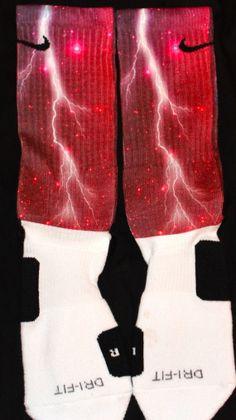Red Thunder Galaxy Custom Nike Elite Socks by DopeSocksAndStuff, $24.99