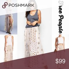 """❤️ FREE PEOPLE Boho Maxi Skirt NEW WITH TAGS  RETAIL PRICE: $130   FREE PEOPLE Boho Maxi Skirt  * A lightweight fabric w/a beautiful allover floral & abstract boho print   * Approx 40"""" long; Partially lined   * Concealed size zip closure   * Subtly Pleated construction   * Tagged size 4 (S) will approx fit sizes 2-4   Fabric: Rayon  Color: Tea (Ivory) Combo Item: # amazing technicolor chiffon pastel   No Trades ✅Offers Considered*/Bundle Discounts✅  *Please use the 'offer' button to submit…"""