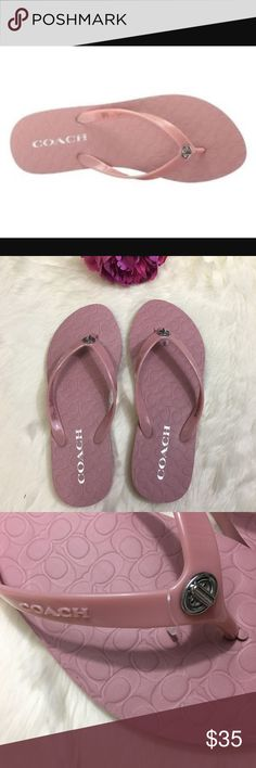 Coach Flip Flops Thong Sandal Abbigail Pink New Make your style chill and comfy with these stylish Flip Flops from Coach. Slip on construction, brand logo and detailed hardware on thong. Lightly padded footbed. NWOT. Never worn Coach Shoes Sandals