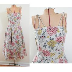 Vintage Dress Pink and Yellow Roses with Silver by FairSails, $65.00 #vintagedress #1950sfashion