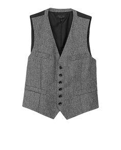 Trafalgar Waistcoat Black Herringbone -  Rag & Bone
