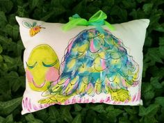 Pretty Turtle Hand Painted Pillow by YelliKelli on Etsy, $35.00