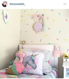 Sprinkle decals and pretty pastels unicorn bedroom