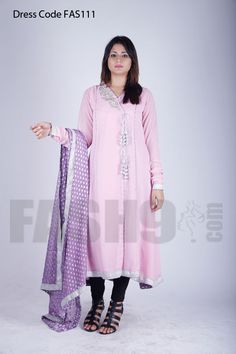 Dress Code: FAS111 Pink Angarkha Style Embrodieried Party wear dress with beautifully handwork embroidery on fron and back of shirt, Size: FREE SIZE Price: PKR 7,500/= Delivery time: READY TO SHIP and it can be make to order, Shipping: we ship worldwide for orders please email at sales@fash9.com or place orders online at http://fash9.com/Pink-Angarkha-Style-Party-wear-dress along with dress code