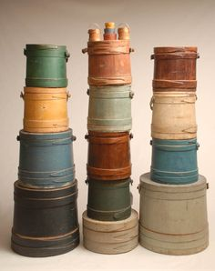 Antique firkins in great colors!