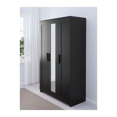 IKEA BRIMNES wardrobe with 3 doors Adjustable hinges ensure that the doors hang straight. Wardrobe Furniture, Wardrobe Cabinets, Diy Wardrobe, Wardrobe Doors, Wardrobe Design, Bedroom Furniture, Ikea Black Wardrobe, Sliding Wardrobe, Bedroom Wardrobe