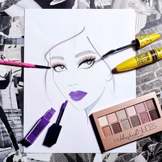 Nothing pairs better with bold purple lips than long, dramatic, sculpted lashes. Maybelline can show you how to get the look using this easy to follow face chart. Apply the new Spider Mascara , Blushed Nudes eyeshadow palette, Master Skinny gel pencil, and Vivid Matte liquid in 'vivid violet' for an everyday summer makeup look. Click through for more beauty tips and inspiration.