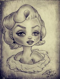 Marilyn Monroe Cartoon by ZombieGhoulina on DeviantArt Marilyn Monroe Drawing, Chicano Love, Etch A Sketch, Norma Jeane, Love Drawings, Illustration Art, Illustrations, Cartoon Art, Art Boards