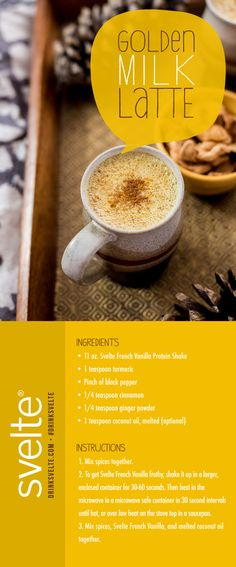 Warm up and power up with a protein packed #GoldenMilk Latte! #recipe #healthy
