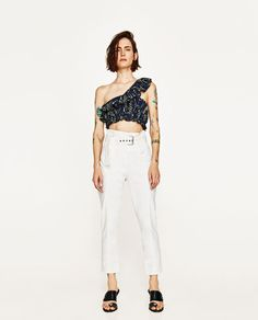ebbc29bfc757f Image 1 of FRILLED JACQUARD TOP from Zara