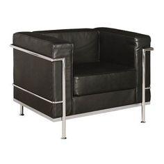 Corbusier Armchair Black Leather Chrome Frame