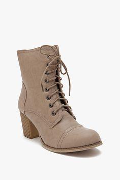 Ariel Lace Up Combat Stack Heel Short Boot