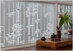 """CHOIS GW014 Adhesive Cling Privacy Frosted Bamboo Glass Window Films 35"""" Width  
