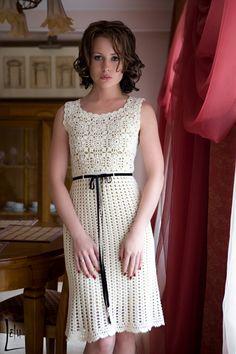 Vestido - elegancia de estilo blanco Chanel. - Todo en calado ... (crochet) - País mamá